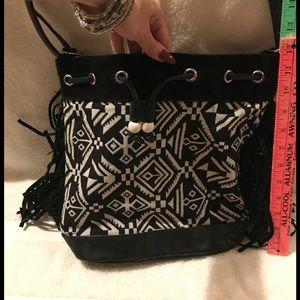 Handbags - Black & White fringed Purse